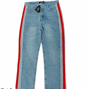 Paper Heart crop hi rise side stripe jeans